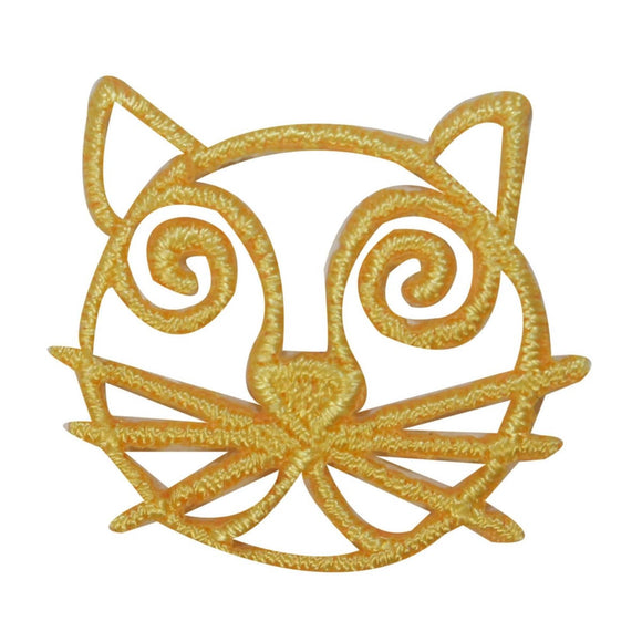 ID 3036D Cat Face Emblem Patch Kitten Symbol Craft Embroidered Iron On Applique