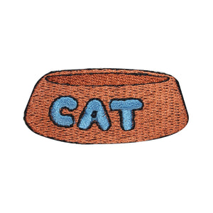 ID 2953 Cat Food Bowl Patch Pet Water Dish Craft Embroidered Iron On Applique