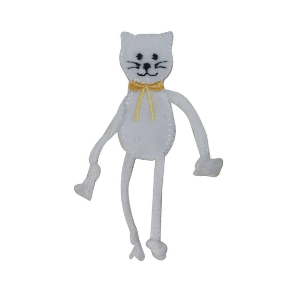 ID 2963 Cat With String Arm and Legs Patch Kitten Embroidered Iron On Applique