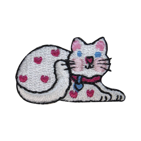 ID 3050 Cute White Spotted Cat Patch Kitten Kitty Embroidered Iron On Applique