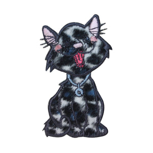ID 2968 Fluffy Kitten Yawning Patch Furry Cat Pet Embroidered Iron On Applique