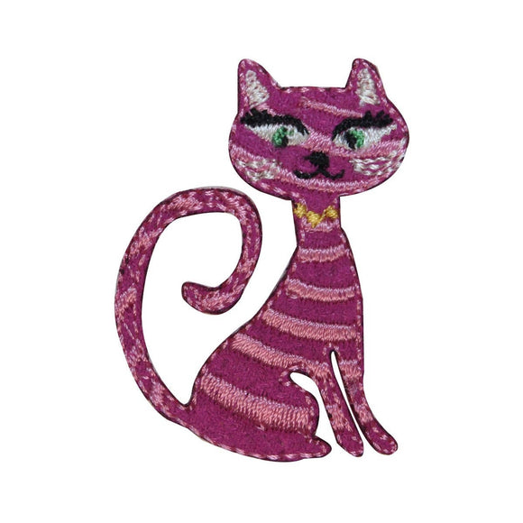 ID 2969 Stripped Cat Patch Kitten Kitty Emblem Pet Embroidered Iron On Applique