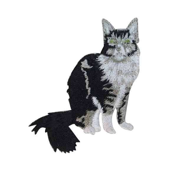 ID 2989 Long Haired Cat Patch Kitten Kitty Cute Pet Embroidered Iron On Applique