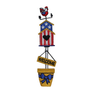 ID 3111 Patriotic Bird House Patch Welcome Home Embroidered Iron On Applique