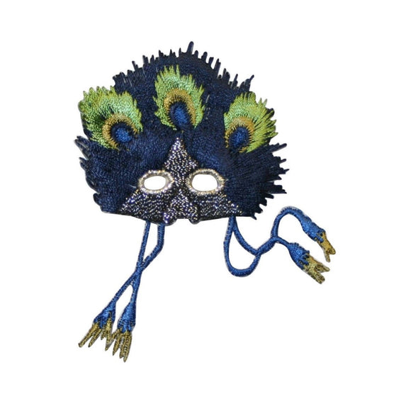 ID 3406 Feathered Mask Mardi Mask Patch Disguise Embroidered Iron On Applique
