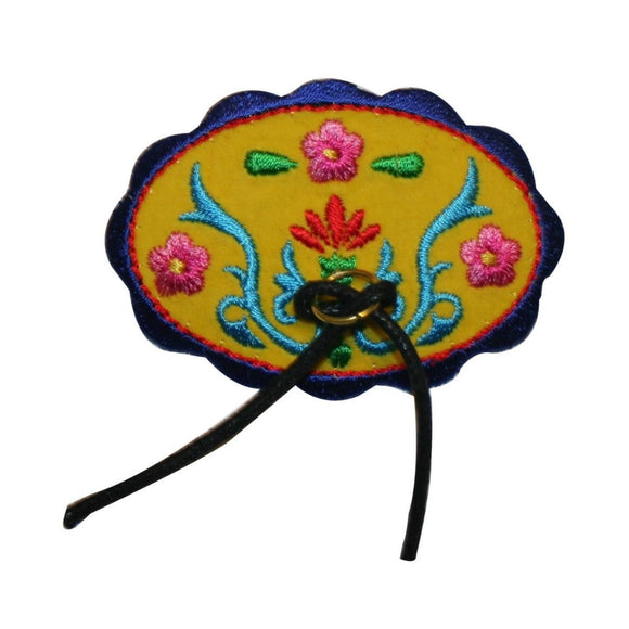 ID 3418 Oval Western Bolo Tie Patch Dress Flower Embroidered Iron On Applique