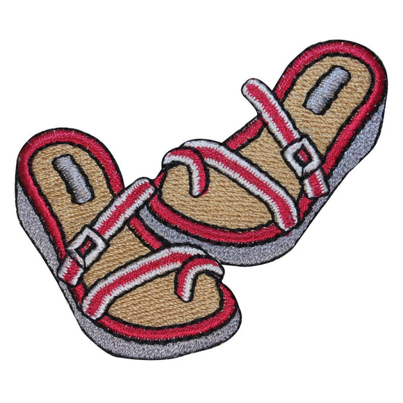 ID 1820 Strap Sandals Patch Summer Shoe Beach Craft Embroidered Iron On Applique