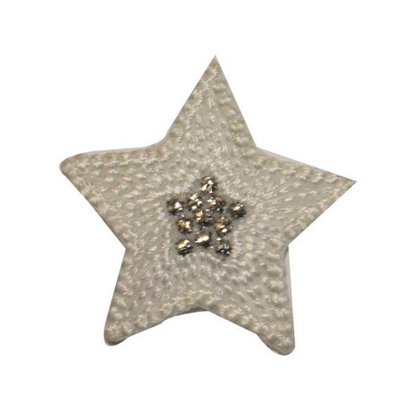 ID 3451A Textured Star Patch Night Sky Shiny Symbol Embroidered Iron On Applique