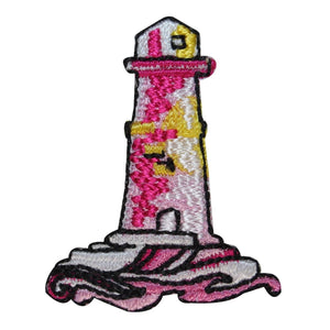 ID 1832Z Lighthouse Crashing Waves Patch Nautical Embroidered Iron On Applique