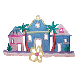 ID 1833 Beach Houses Patch Ocean Front Vacation Embroidered Iron On Applique