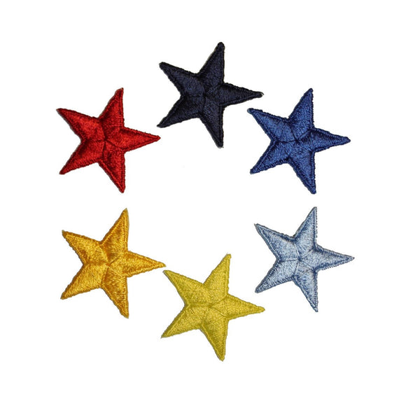 ID 3468A-F Set of 6 Colorful Star Patch Symbol Sky Embroidered Iron On Applique