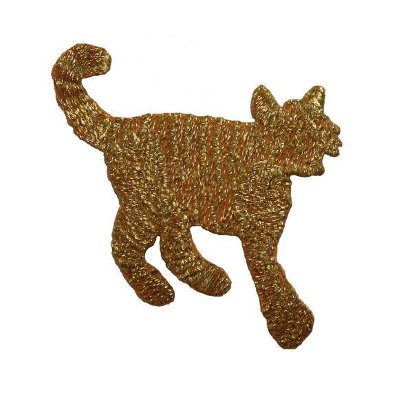 ID 3604 Gold Cat Silhouette Patch Feline Kitty Embroidered Iron On Applique