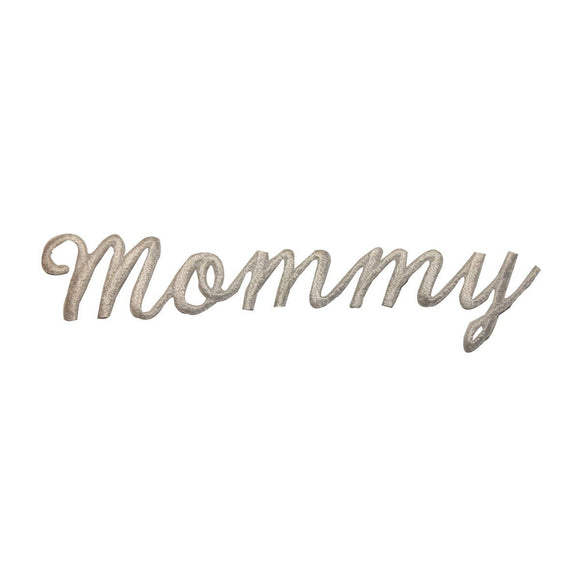 ID 3672 Mommy Word Patch White Mom Letters Name Embroidered Iron On Applique