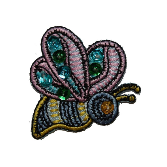 ID 3592 Sequin Flying Bumble Bee Patch Insect Craft Embroidered Iron On Applique