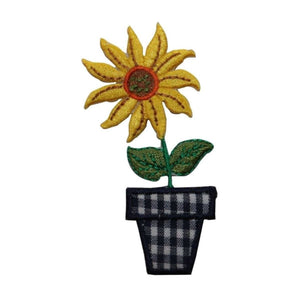 ID 6017 Sunflower In Plaid Pot Patch Bloom Flower Embroidered Iron On Applique
