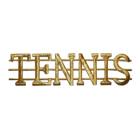 ID 5044 Tennis Word Badge Large Patch Sport Hobby Embroidered Iron On Applique