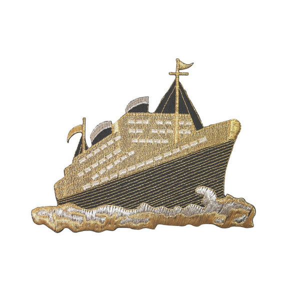 ID 5067 Gold Cruise Ship Large Patch Liner Boat Embroidered Iron On Applique