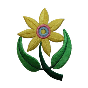 ID 6056 Yellow Flower On Stem Patch Garden Plant Embroidered Iron On Applique