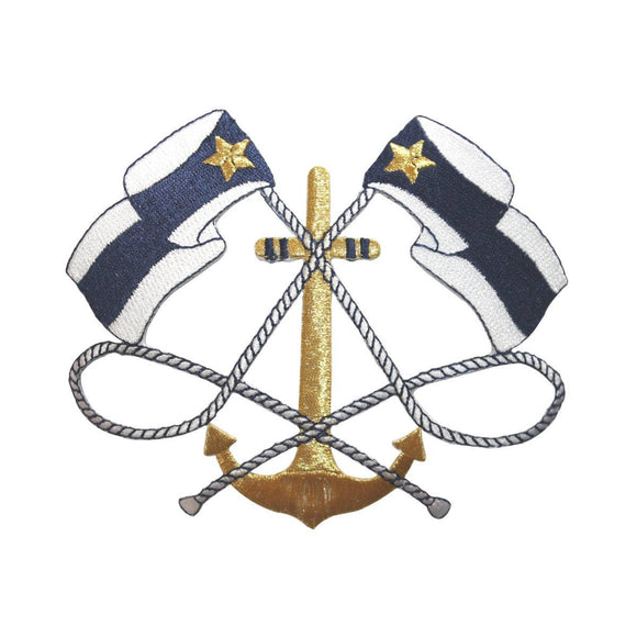 ID 5083 Nautical Crest Large Patch Sail Anchor Sea Embroidered Iron On Applique