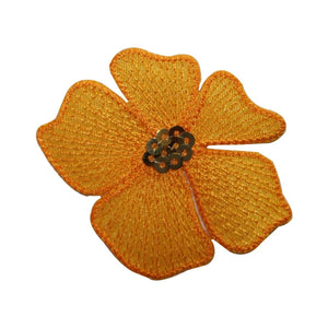 ID 6109 Sequin Orange Flower Patch Blossom Pedals Embroidered Iron On Applique