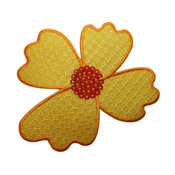 ID 6110 Sequin Flower Patch Yellow Blossom Garden Embroidered Iron On Applique