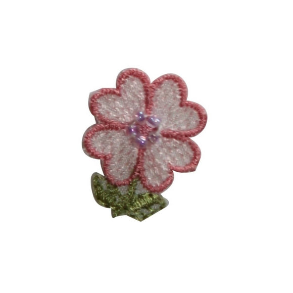 ID 6270 Beaded Pink Flower Patch Garden Craft Bloom Embroidered Iron On Applique