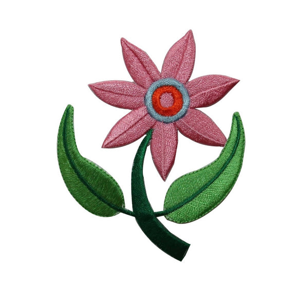 ID 6307 Pink Flower Symbol Patch Plant Garden Grow Embroidered Iron On Applique