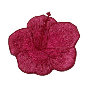 ID 6309 Red Hibiscus Flower Patch Hawaii Garden Embroidered Iron On Applique