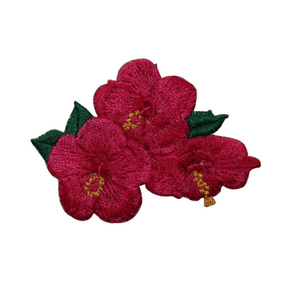 ID 6328 Red Hibiscus Flower Patch Garden Tropical Embroidered Iron On Applique