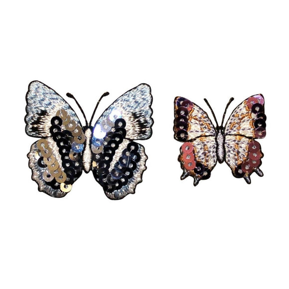 ID 2300AB Set of 2 Sequin Wing Butterfly Patches Bug Embroidered IronOn Applique