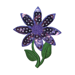 ID 6431 Purple Sequin Flower Patch Plant Garden Leaf Embroidered IronOn Applique