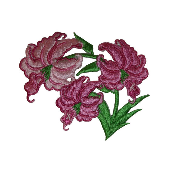 ID 6331 Pink Lily Flower Patch Garden Plant Blossom Embroidered Iron On Applique