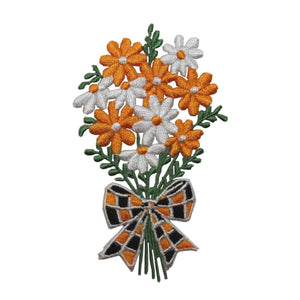 ID 6386 Orange Daisy Bouquet Patch Gift Bow Blossom Embroidered Iron On Applique