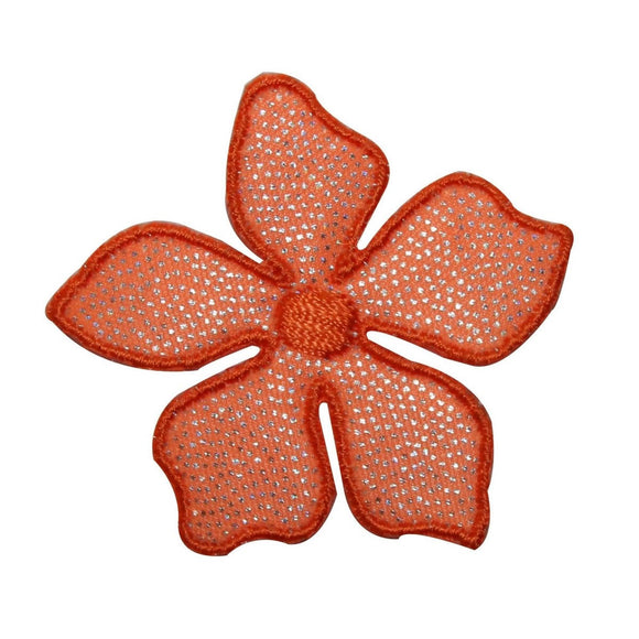 ID 6393 Shiny Orange Hibiscus Flower Patch Tropical Embroidered IronOn Applique