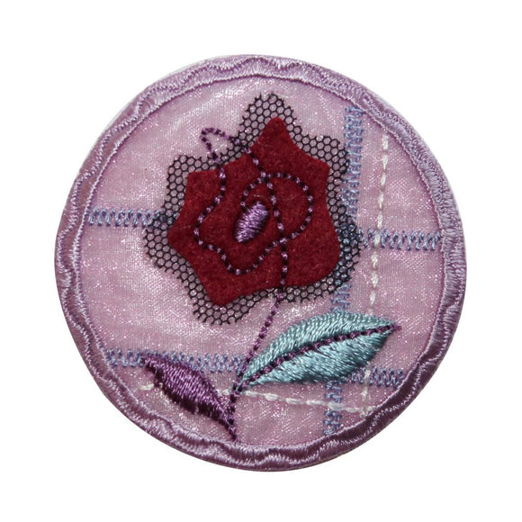 ID 6538 Purple Flower Picture Patch Garden Badge Embroidered Iron On Applique