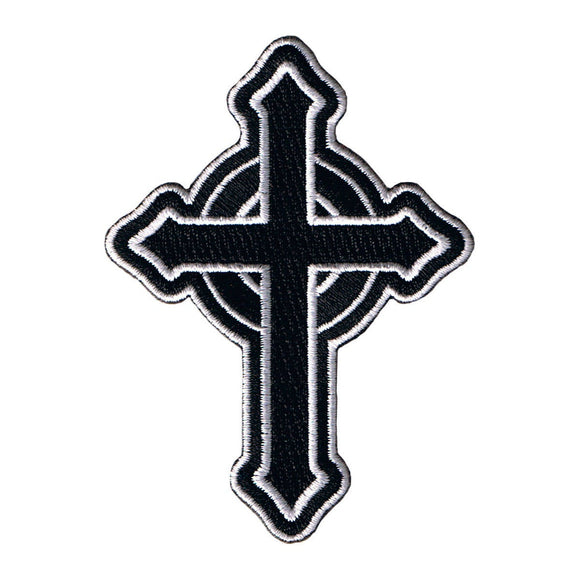 Catholic Cross White On Black Patch Christian Faith Symbol Iron On Applique
