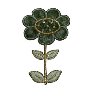 ID 6642 Green Sunflower Patch Blossom Garden Plant Embroidered Iron On Applique