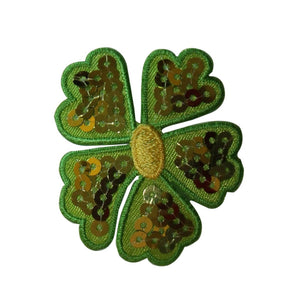 ID 6655 Green Sequin Flower Patch Plant Head Blossom Embroidered IronOn Applique