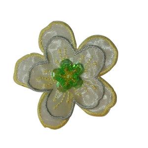 ID 6657 Green Sequin 3D Flower Patch Bead Blossom Embroidered Iron On Applique