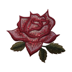ID 6666 Red Rose Flower Patch Garden Blossom Love Embroidered Iron On Applique