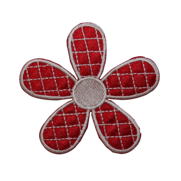 ID 6689 Red Checkered Flower Patch Daisy Blossom Embroidered Iron On Applique