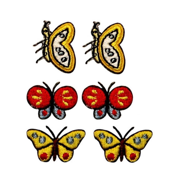 ID 2335ABC Set of 6 Assorted Butterfly Patches Bug Embroidered Iron On Applique