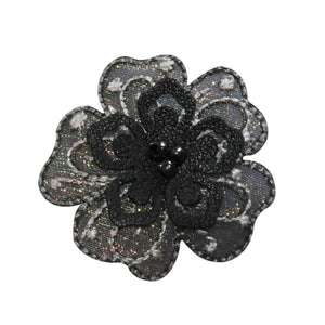 ID 6808 Beaded 3D Flower Patch Layered Petal Symbol Embroidered Iron On Applique