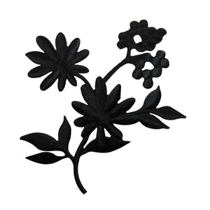 ID 6812 Black Flower Silhouette Patch Blossom Garden Embroidered IronOn Applique