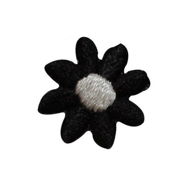 ID 6815 Lot of 3 Black White Flower Blossom Patch Embroidered Iron On Applique