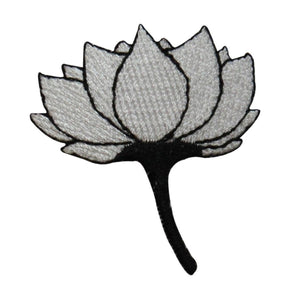 ID 6821 White Lotus Flower Patch Blossom Exotic Embroidered Iron On Applique