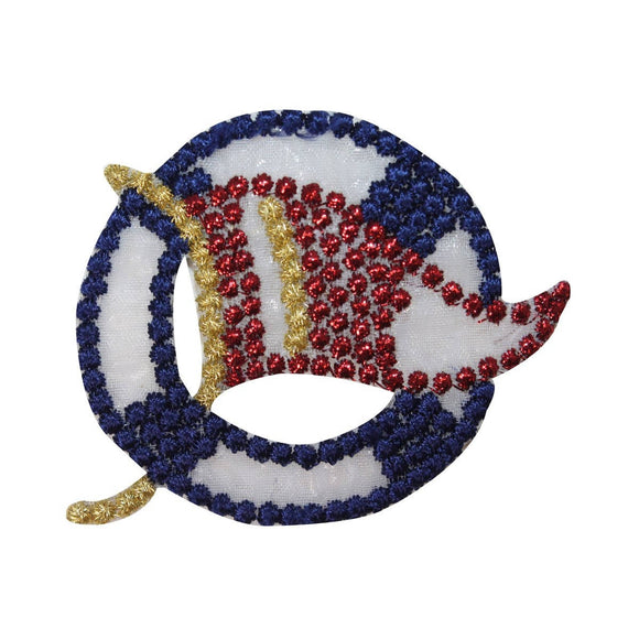 ID 2684A Sheer Nautical Flag Life Preserver Patch Embroidered Iron On Applique