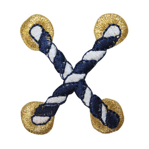 ID 2686B Striped Nautical Rope Patch Cord Knot Tie Embroidered Iron On Applique