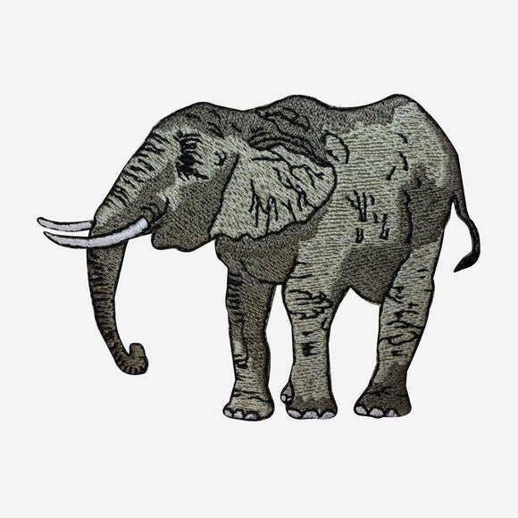ID 2827 African Elephant Patch Safari Animal Embroidered Iron On Applique
