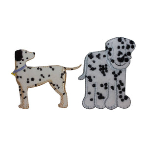 ID 2837AB Set of 2 Fuzzy Dalmatian Patches Dog Puppy Fluffy Iron On Applique